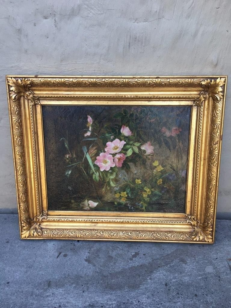 English School  'Wild Roses in Bloom in Landscape' - Oil on Canvas