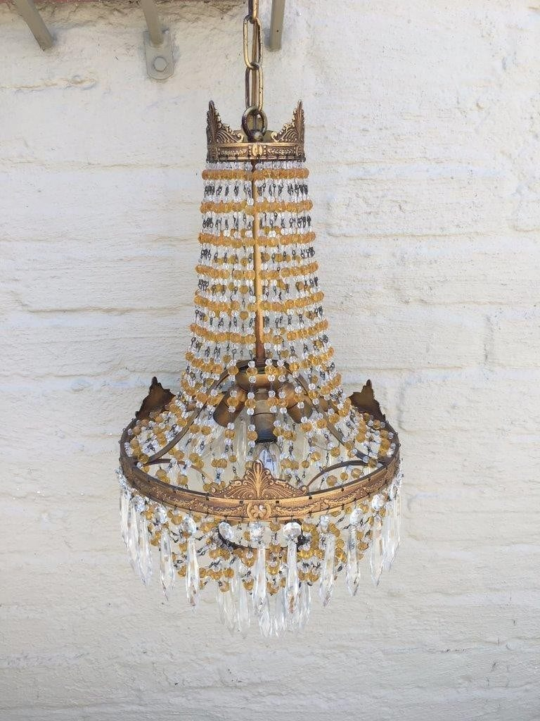 Early 20th Century French Bronze and Crystal Chandelier