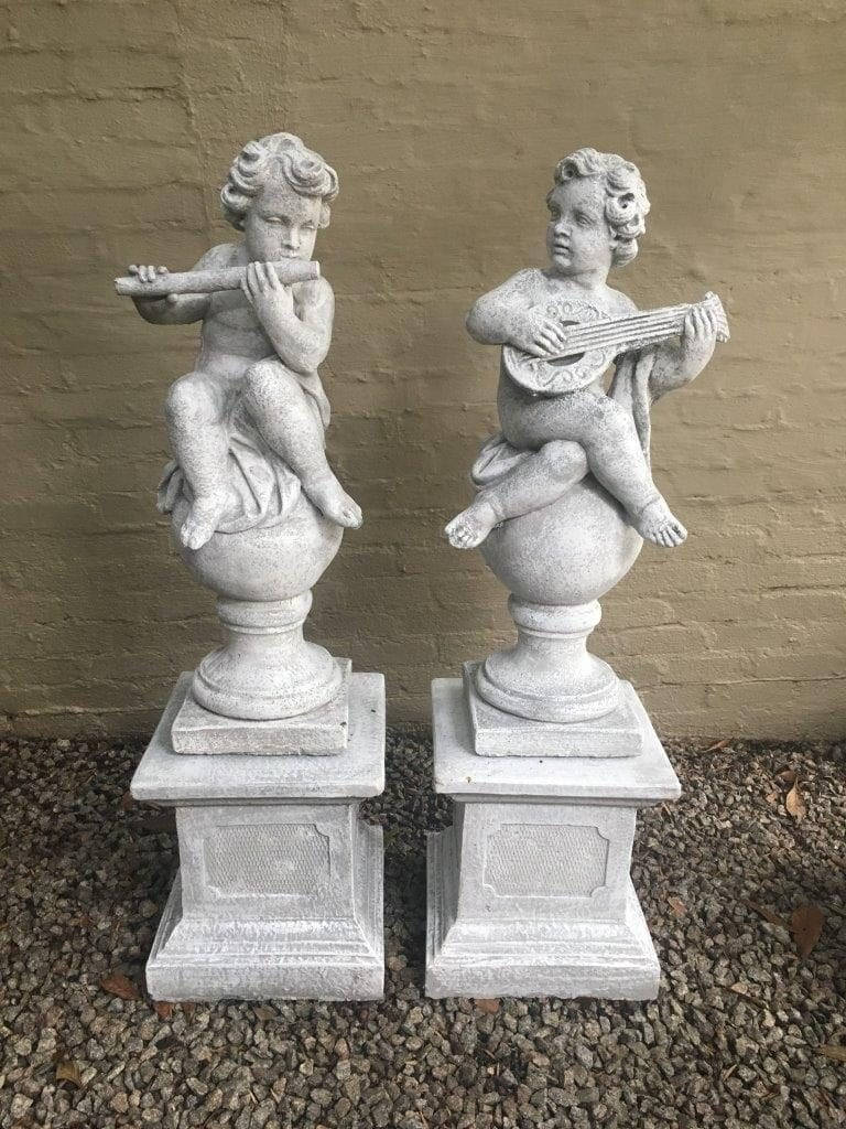 4 Piece Set of  2  Plinths &  2 Concrete Cherubs