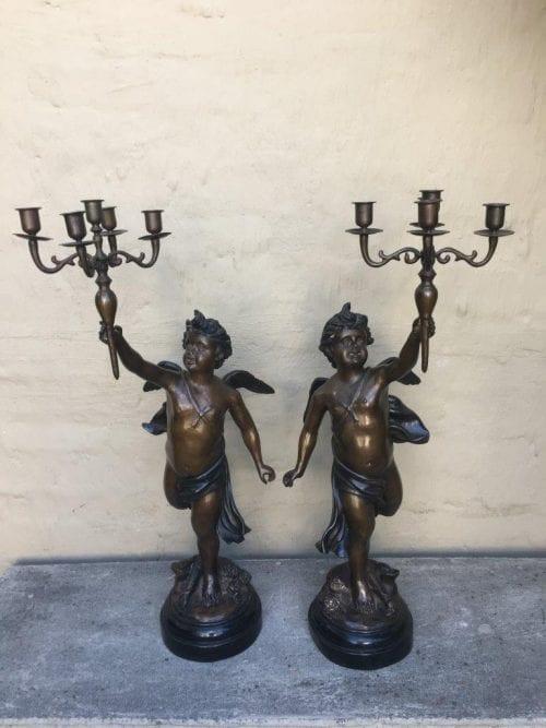 Pair 19th Century Style Bronze Figural Candelabra