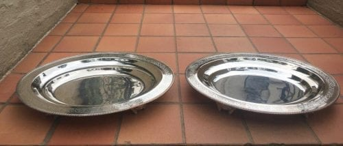 Pair Large Oval Silver Plated Serning Platters