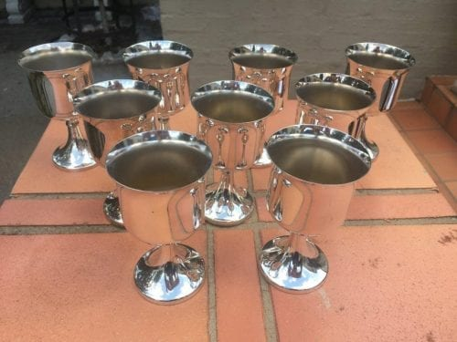 Set of 9 Silver Plated Wine Goblets - ND