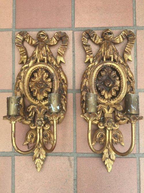 Pair Candle Sconces with Bow