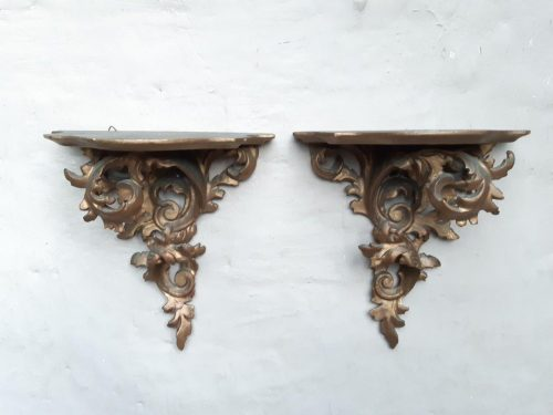 Pair of Gilded Wooden Wall Sconces