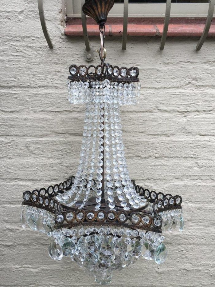 Rare Vintage French Star Style Crystal Chandelier Circa 1940