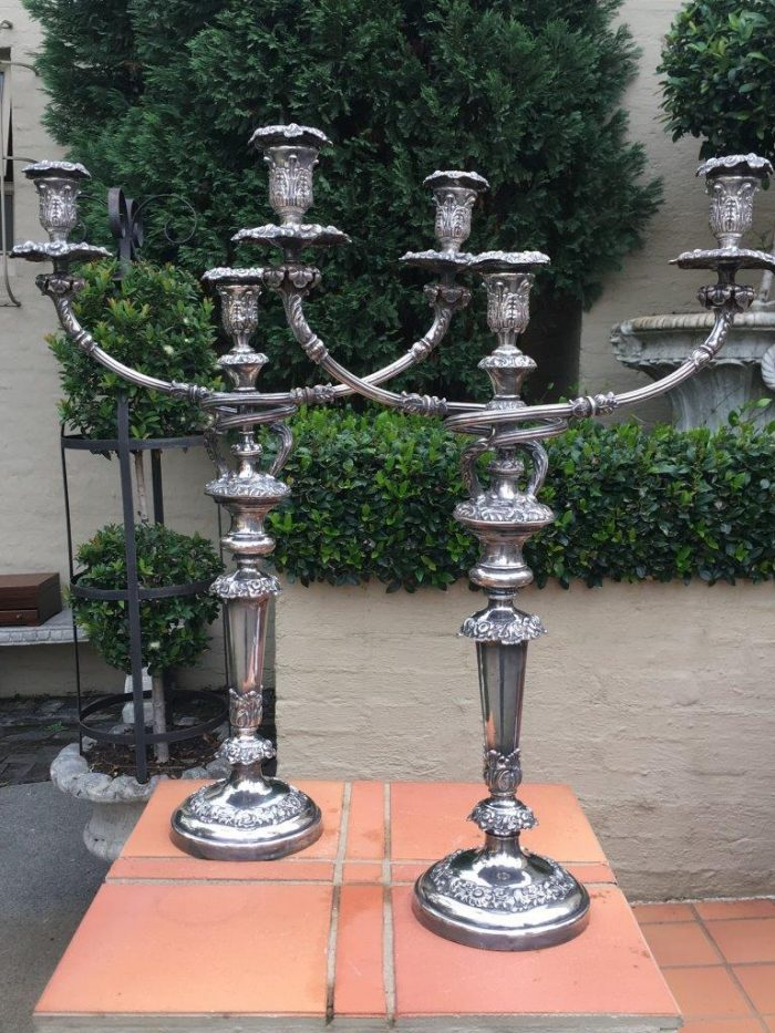 Pair Silver Plated Three Arm Candelabra