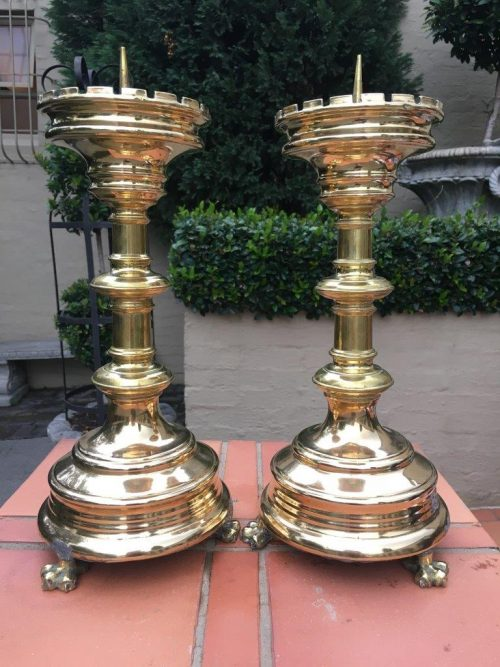 Pair Brass 19th Century Pricket Alter Candlesticks from the Craige Troeberg Collection