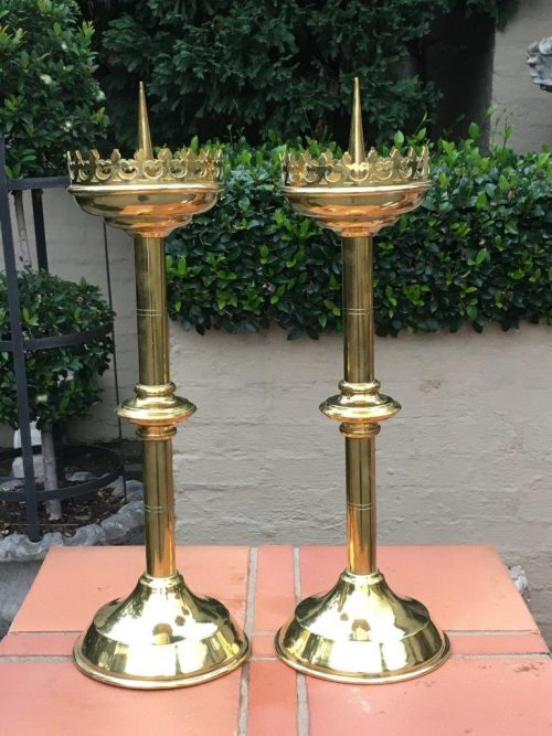 Pair 19th Century Brass Altar Candlesticks from the Craige Troeberg Collection