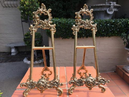 Pair Brass Table Easels