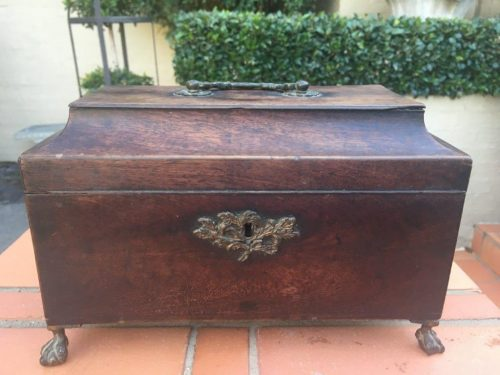 Late 19th Century Victorian Rosewood Gilt Metal Mounted Tea Caddy