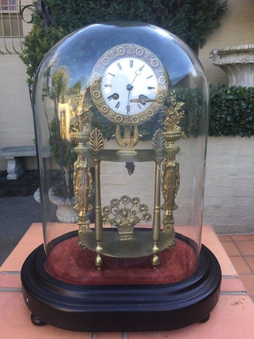 19th Century French Gilt Metal Skeleton Mantle Clock