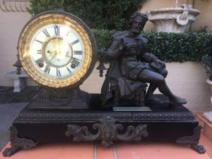 19th Century French Spelter Figural Mantle Clock