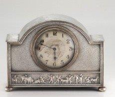 An Edwardian Silver Plate Mantle Clock