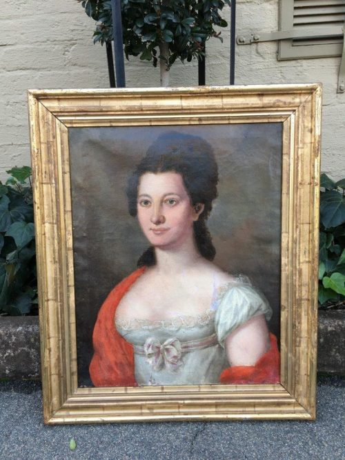 Antique Biedermeier Original Lady Portrait Circa 1800 to 1899