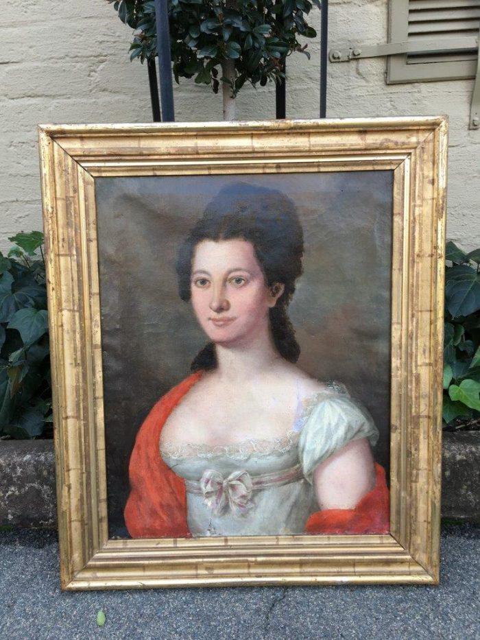 Antique Biedermeier Original Lady Portrait Circa 1800 to 1899
