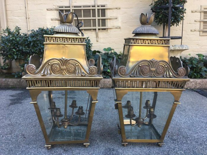 Pair Brass / Glass Lanterns