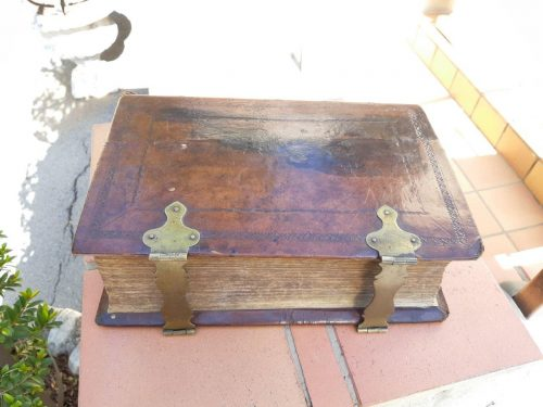 Leather Bound Dutch Bible With Clasps