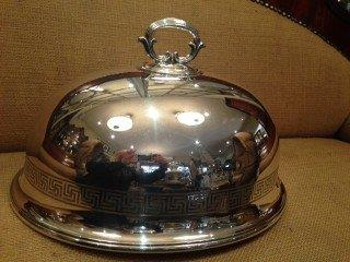 Silver plated Food Dome with Greek Key Design