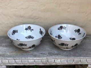 Pair of Vintage Porcelain Bowls with Rose Design