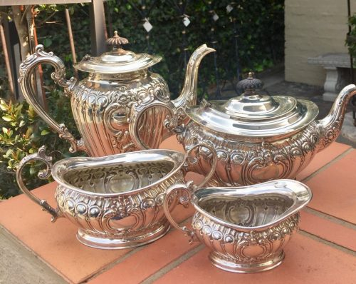 Victorian Sheffield Silver Plated A1 Four Piece Tea Set