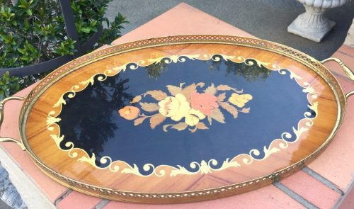Vintage Italian marquetry inlaid serving tray with brass handles