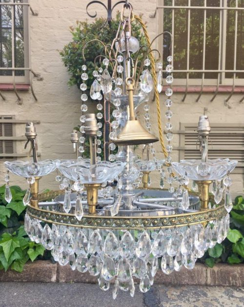 Pair Chekoslovakian crystal chandeliers