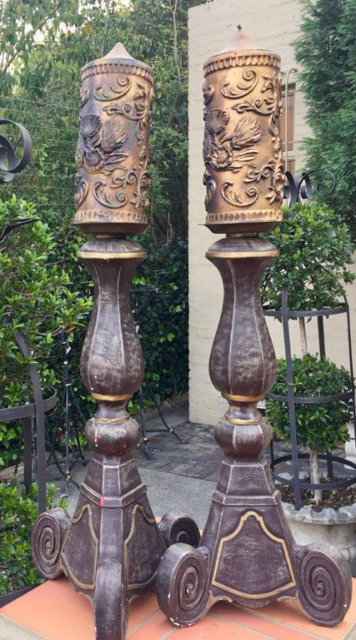 Pair of Composition and Metal Church Style Candlesticks