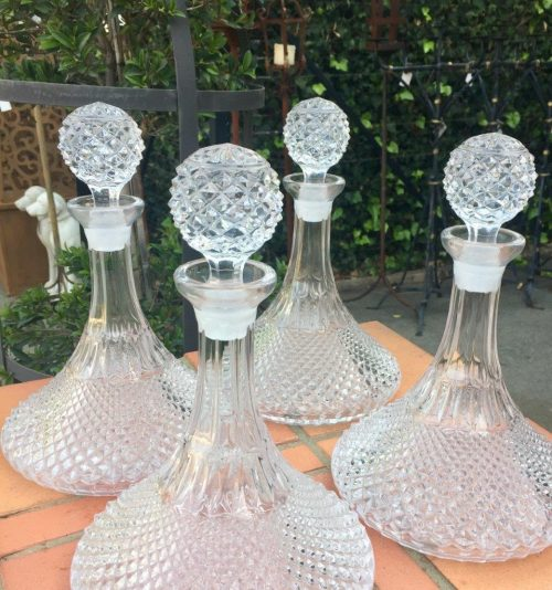 Set of Four Somerset Cut Crystal Ships Decanters and Stoppers