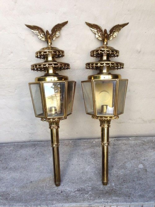 Pair of Antique Brass Eagle Carriage Lanterns