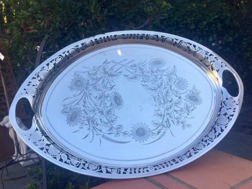 Large Silver Plated Footed Serving Tray
