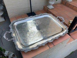 Oversized Vintage Silver Plated Tray