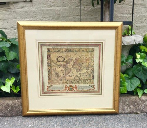 "An Old-coloured world map print in Gold frame with sidebars by Willem J. Blaeu ""Nova Totius Terrarum Orbis Geographica Ac Hydrographica Tabula"