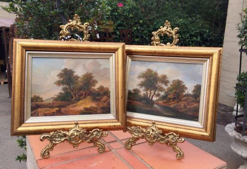 Pair of Oil Landscapes in gilded frames
