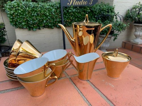 Gold Bavarian Art Deco Coffee Set of 6 Cups