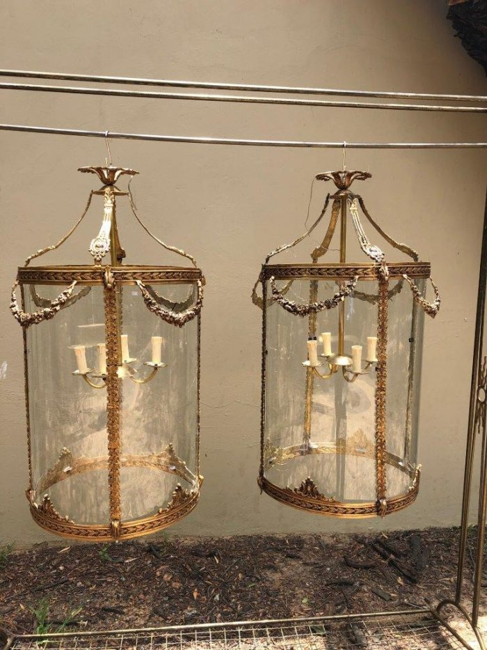 Pair imported glass and brass lanterns