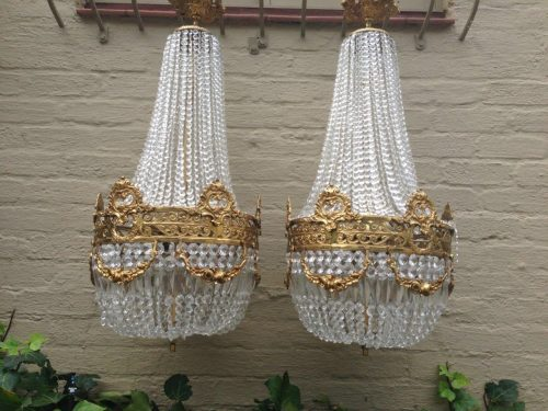 Pair Basket Chandeliers