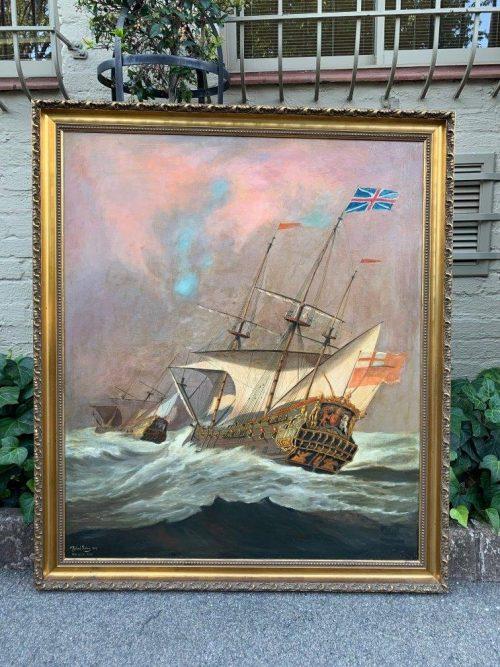 Oil painting sailing ship by Richard Boberg