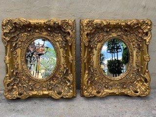 Pair Of Gilt Ornately Moulded Mirrors