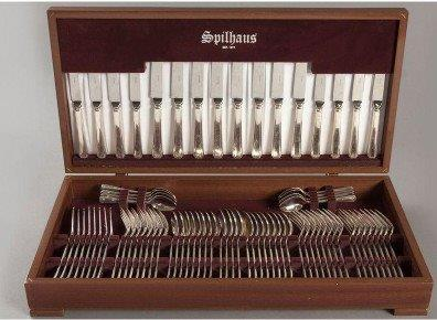 7836 An Eight Place Spilhaus 76 piece Silver Plate Cutlery Set (8 dinner knives