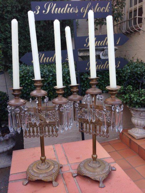 Pair of Antique Aesthetic Art Nouveau Brass and Crystal Candleabras