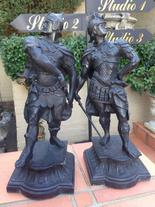 Pair of Large Spelter Figures of Soldiers
