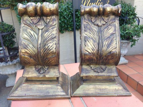 Pair of Gilded Carved Wall Sconces