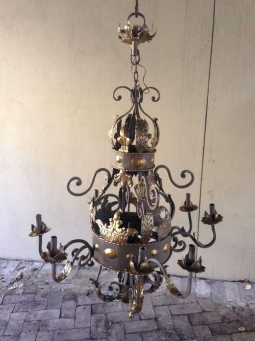 A Round base Wrought Iron Hand Painted Chandelier with crown detail