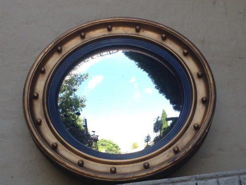 Georgian style giltwood convex mirror