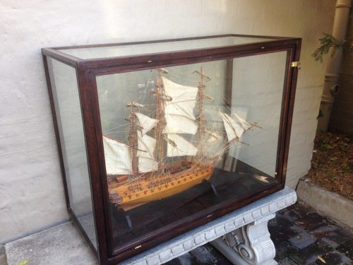 Large and rare handmade wooden model of a ship