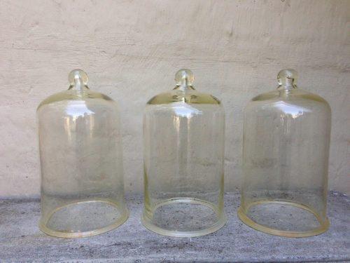 Set of 3 antique original laboratory/apothecary vacuum thick tempered glassware bell/dome/jars (one has chip on the flange)