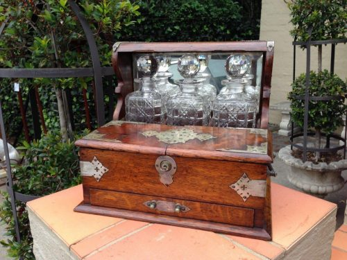 Edwardian Metal-Mounted Oak Tantalus with Three Crystal Decanters