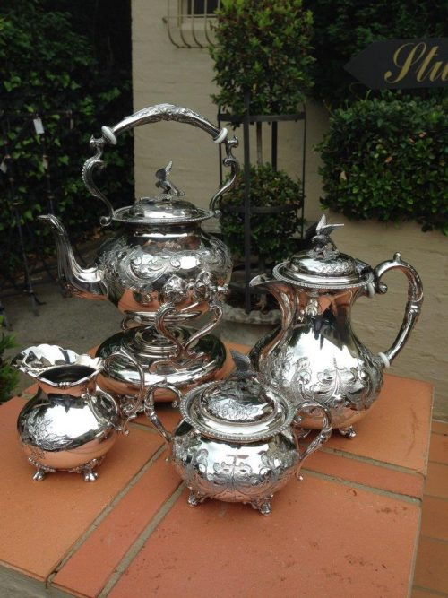 A 4 piece John Turton Hand chased E.P.B.M Tea and Coffee service with beautiful hand carved floral carvings