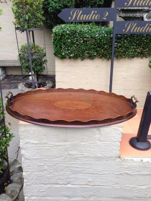 Georgian mahogany tray with brass handles