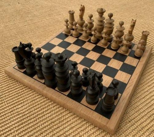Vintage Boxwood and Ebony Regency Calvert Chess Set and Sycamore Board (Collectors Set)